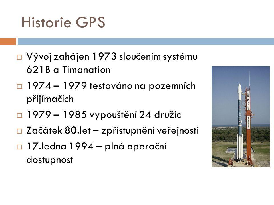 Historie GPS  Vývoj zahájen 1973 sloučením systému 621B a Timanation  1974 – 1979 testováno na pozemních přijímačích  1979 – 1985 vypouštění 24 dru