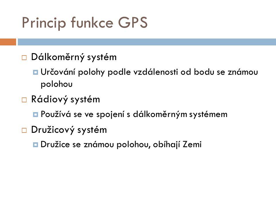 Princip funkce GPS  Dálkoměrný systém  Určování polohy podle vzdálenosti od bodu se známou polohou  Rádiový systém  Používá se ve spojení s dálkom