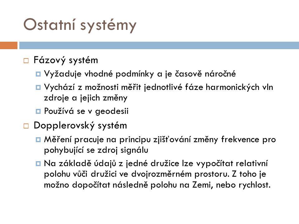 Ostatní systémy  Fázový systém  Vyžaduje vhodné podmínky a je časově náročné  Vychází z možnosti měřit jednotlivé fáze harmonických vln zdroje a je