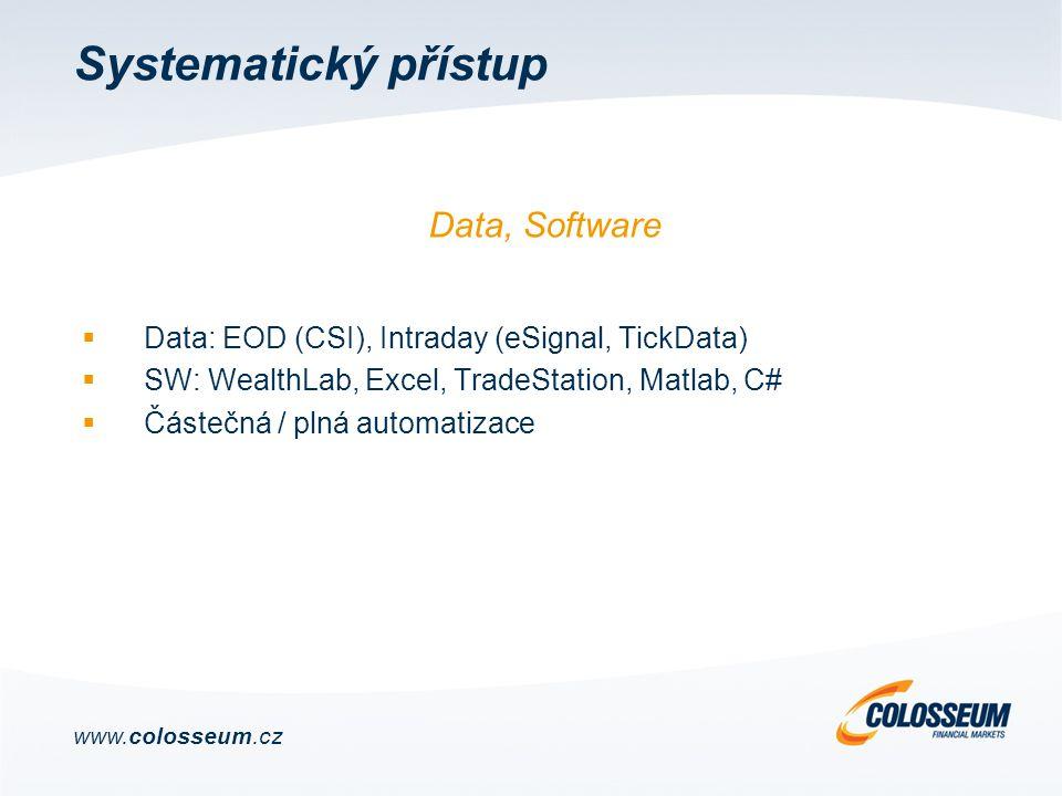 Systematický přístup  Data: EOD (CSI), Intraday (eSignal, TickData)  SW: WealthLab, Excel, TradeStation, Matlab, C#  Částečná / plná automatizace Data, Software www.colosseum.cz