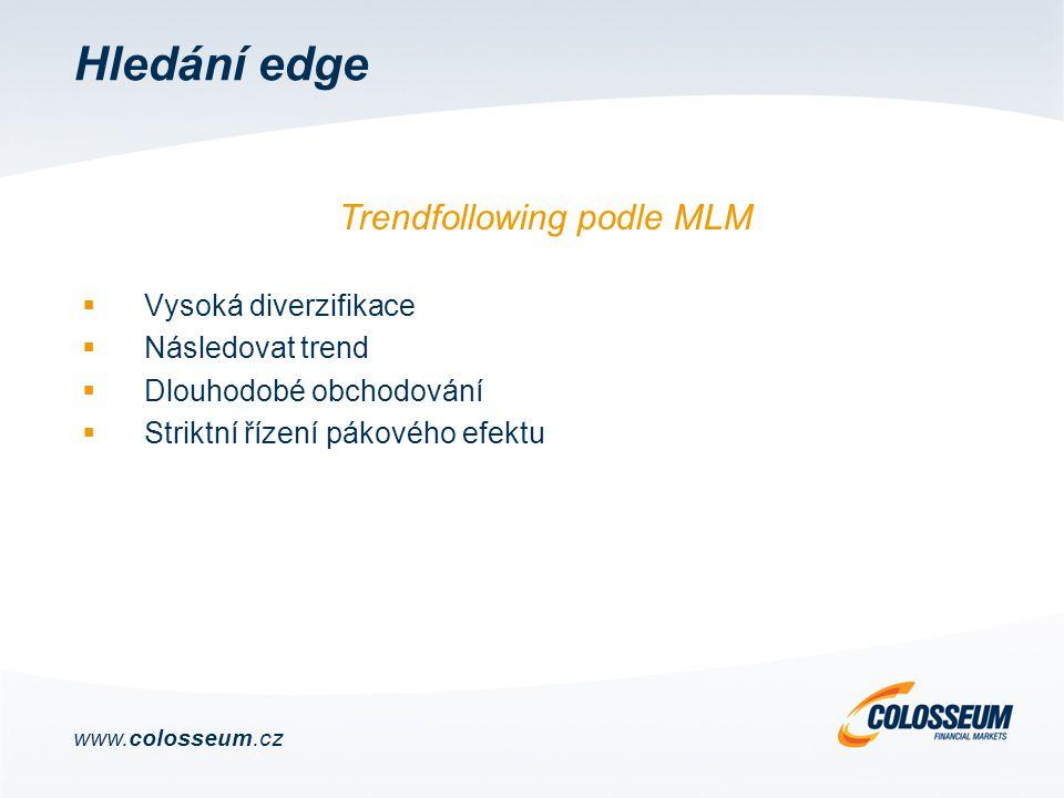Hledání edge  Vysoká diverzifikace  Následovat trend  Dlouhodobé obchodování  Striktní řízení pákového efektu Trendfollowing podle MLM www.colosseum.cz