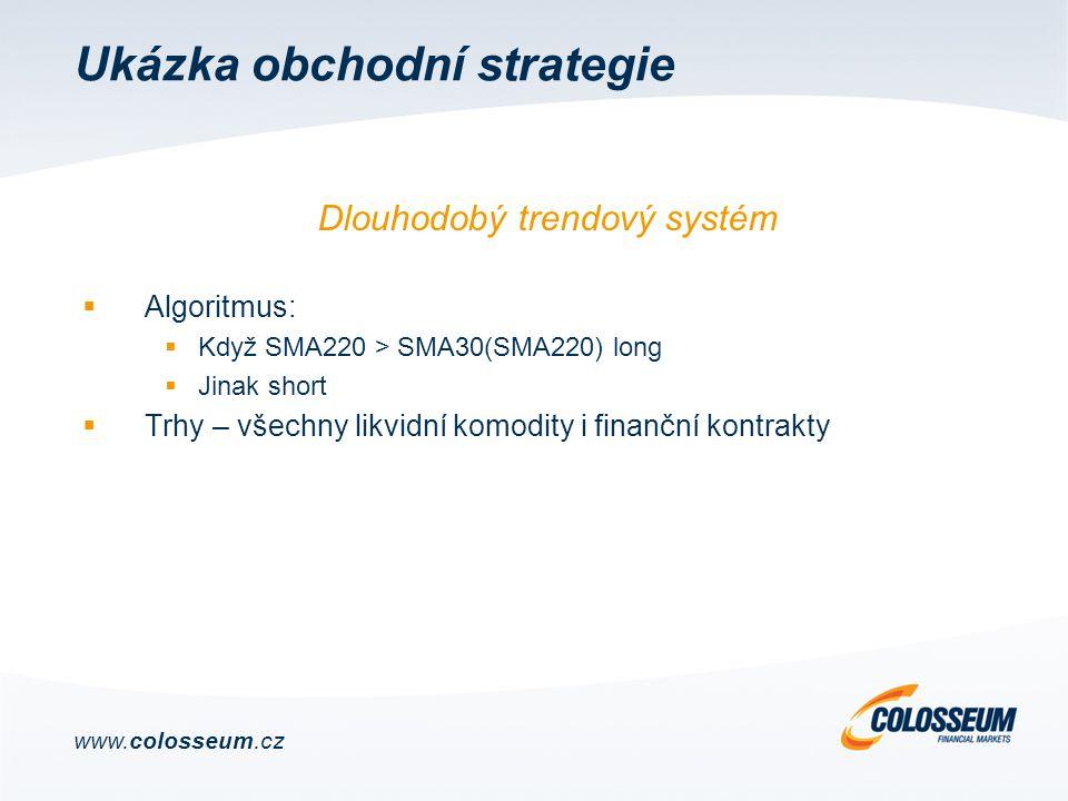 Ukázka obchodní strategie  Algoritmus:  Když SMA220 > SMA30(SMA220) long  Jinak short  Trhy – všechny likvidní komodity i finanční kontrakty Dlouhodobý trendový systém www.colosseum.cz