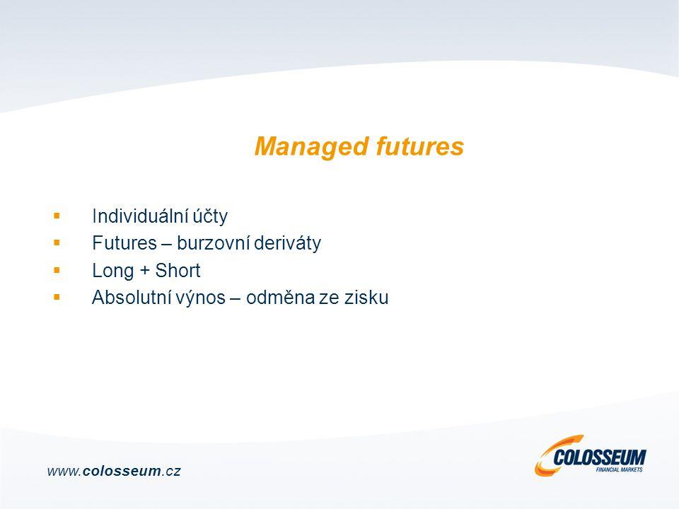  Individuální účty  Futures – burzovní deriváty  Long + Short  Absolutní výnos – odměna ze zisku www.colosseum.cz Managed futures