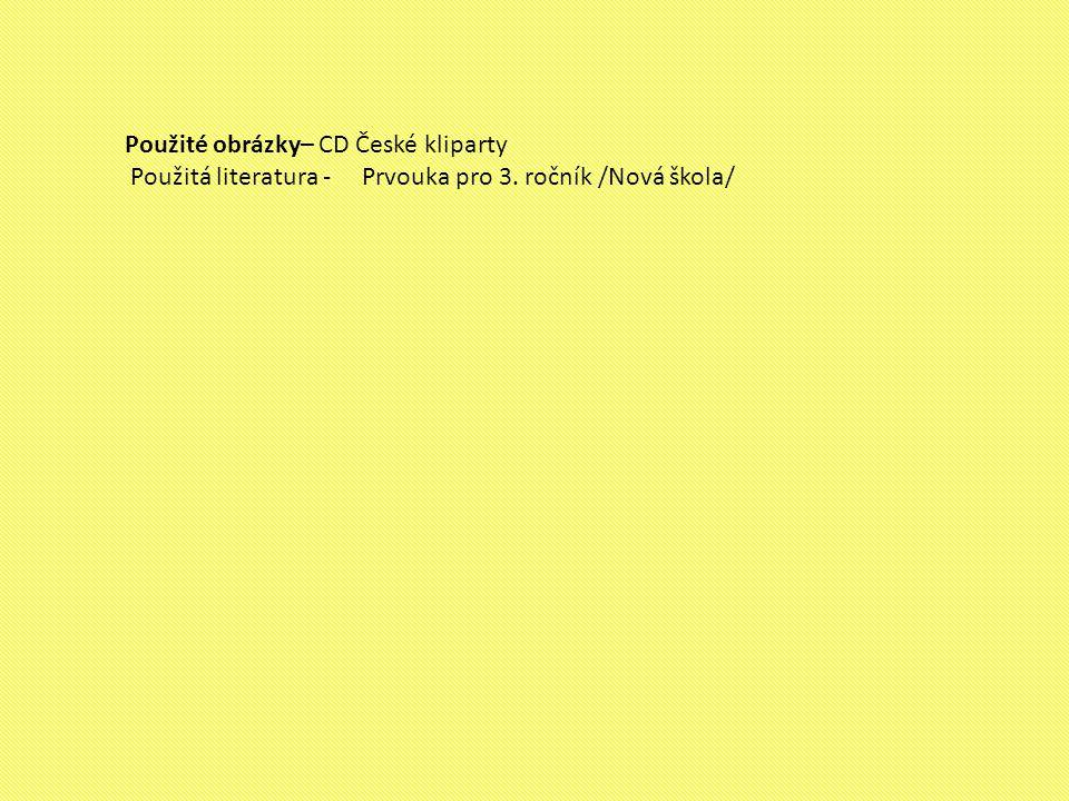 Použité obrázky– CD České kliparty Použitá literatura - Prvouka pro 3. ročník /Nová škola/