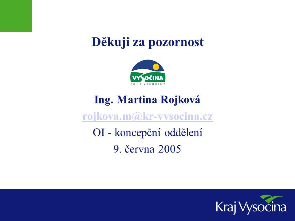Děkuji za pozornost Ing. Martina Rojková rojkova.m@kr-vysocina.cz OI - koncepční oddělení 9.
