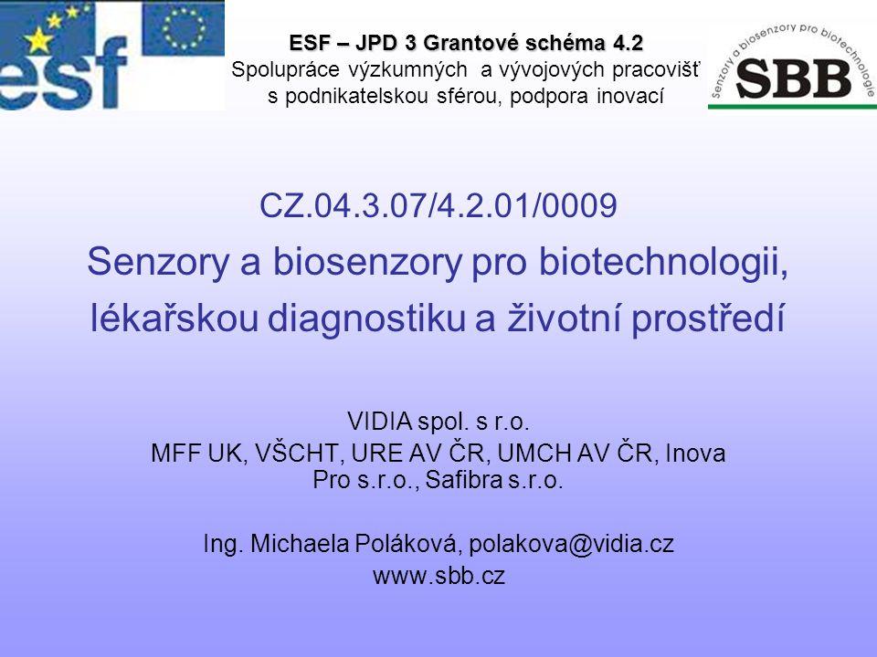 CZ.04.3.07/4.2.01/0009 Senzory a biosenzory pro biotechnologii, lékařskou diagnostiku a životní prostředí VIDIA spol.
