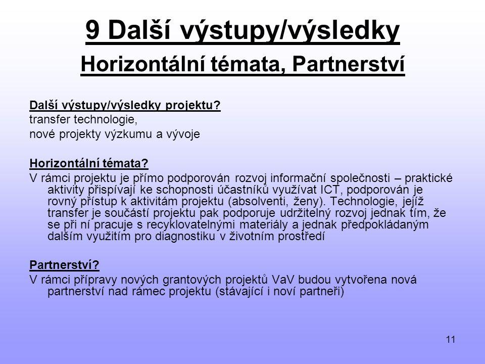 11 9 Další výstupy/výsledky Horizontální témata, Partnerství Další výstupy/výsledky projektu.