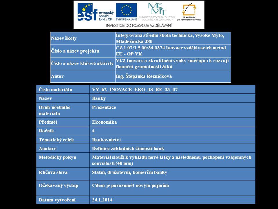 Číslo materiáluVY_62_INOVACE_EKO_4S_RE_33_07 NázevBanky Druh učebního materiálu Prezentace PředmětEkonomika Ročník4 Tématický celekBankovnictví Anotac