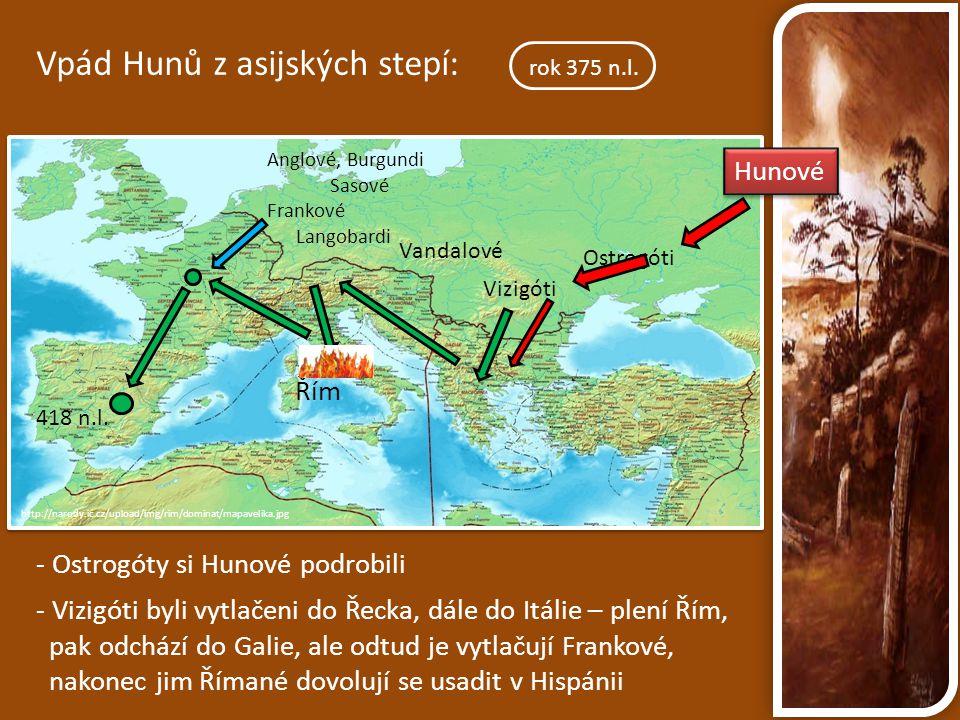 http://narody.ic.cz/upload/img/rim/dominat/mapavelika.jpg Vpád Hunů z asijských stepí: rok 375 n.l. Anglové, Burgundi Sasové Frankové Langobardi Vanda