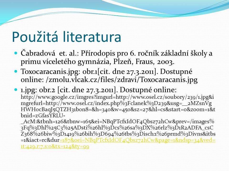 Použitá literatura Čabradová et.al.: Přírodopis pro 6.