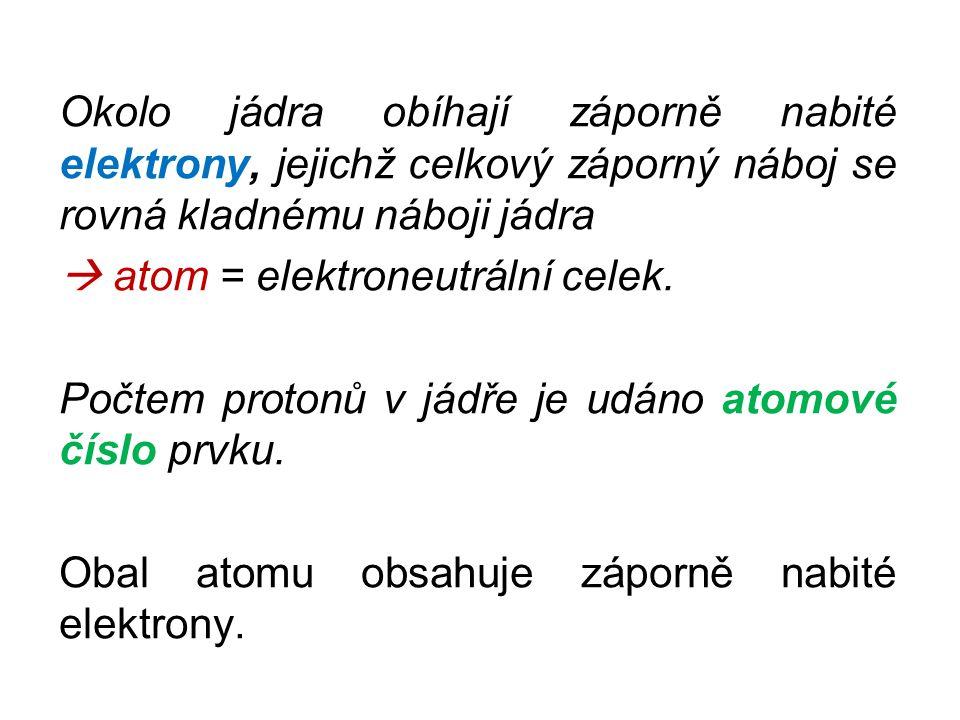Okolo jádra obíhají záporně nabité elektrony, jejichž celkový záporný náboj se rovná kladnému náboji jádra  atom = elektroneutrální celek. Počtem pro