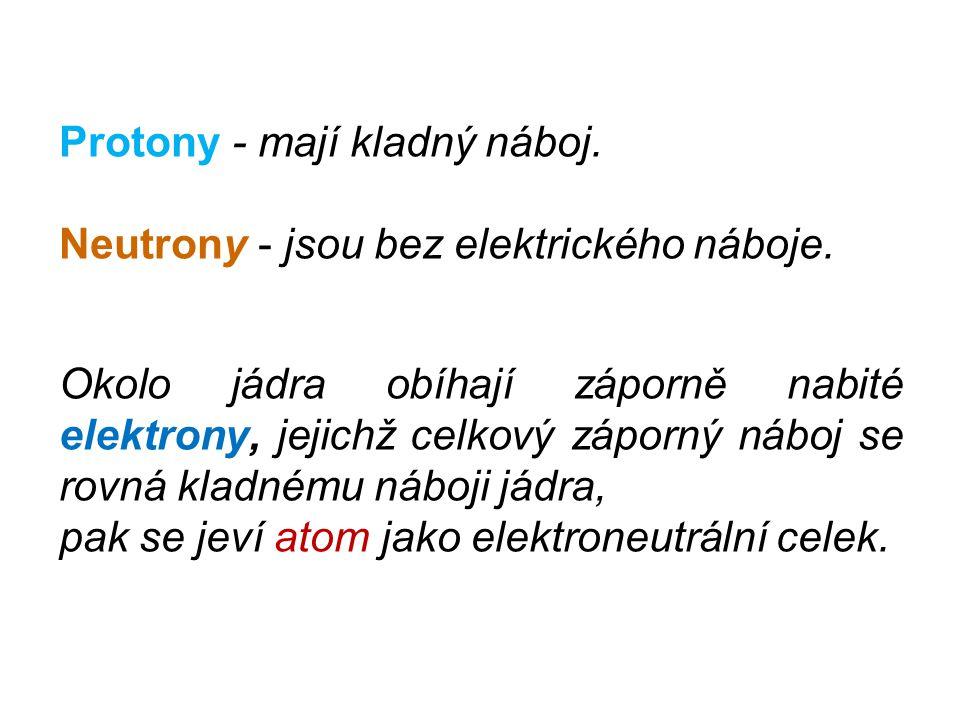 Protony - mají kladný náboj. Neutrony - jsou bez elektrického náboje. Okolo jádra obíhají záporně nabité elektrony, jejichž celkový záporný náboj se r