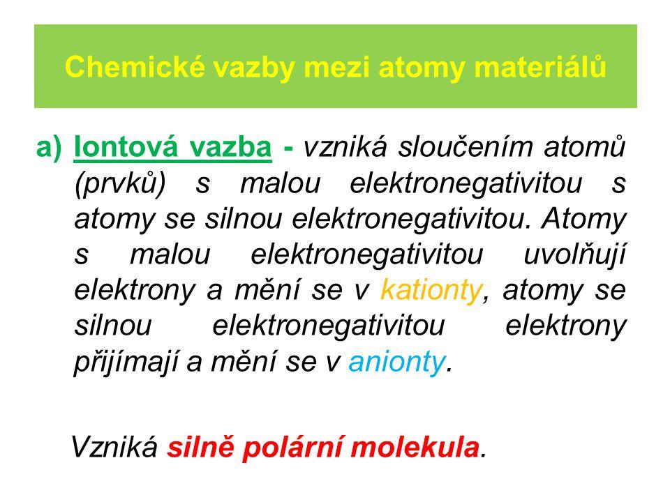 Chemické vazby mezi atomy materiálů a)Iontová vazba - vzniká sloučením atomů (prvků) s malou elektronegativitou s atomy se silnou elektronegativitou.