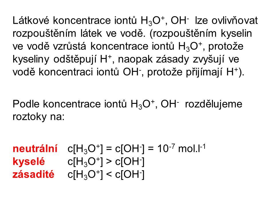 Látkové koncentrace iontů H 3 O +, OH - lze ovlivňovat rozpouštěním látek ve vodě.