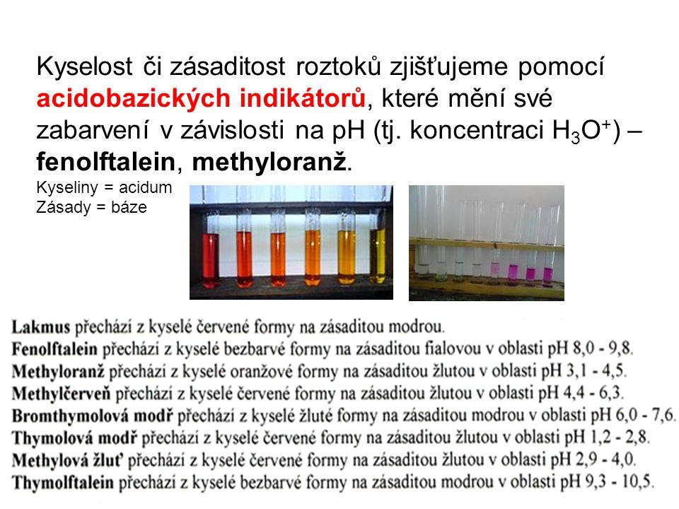 Kyselost či zásaditost roztoků zjišťujeme pomocí acidobazických indikátorů, které mění své zabarvení v závislosti na pH (tj.