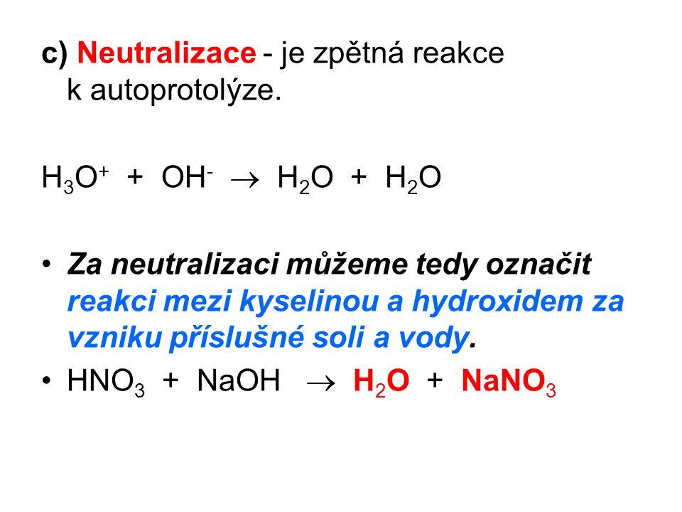 Shrnutí kyseliny, hydroxidy a soli jsou v roztoku vody ionizovány: KCl  K + + Cl – HNO 3 + H 2 O  H 3 O + + NO 3 - Ca(OH) 2  Ca 2+ + 2OH -