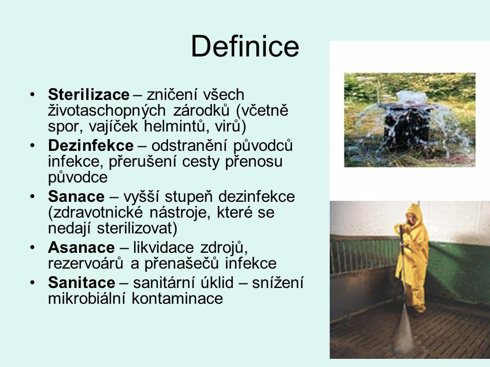 Definice Sterilizace – zničení všech životaschopných zárodků (včetně spor, vajíček helmintů, virů) Dezinfekce – odstranění původců infekce, přerušení cesty přenosu původce Sanace – vyšší stupeň dezinfekce (zdravotnické nástroje, které se nedají sterilizovat) Asanace – likvidace zdrojů, rezervoárů a přenašečů infekce Sanitace – sanitární úklid – snížení mikrobiální kontaminace