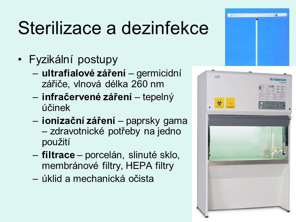 Sterilizace a dezinfekce Fyzikální postupy –ultrafialové záření – germicidní zářiče, vlnová délka 260 nm –infračervené záření – tepelný účinek –ionizační záření – paprsky gama – zdravotnické potřeby na jedno použití –filtrace – porcelán, slinuté sklo, membránové filtry, HEPA filtry –úklid a mechanická očista