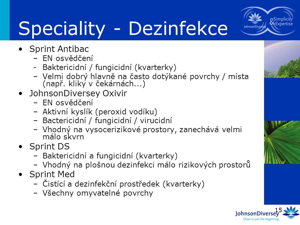15 Speciality - Dezinfekce Sprint Antibac –EN osvědčení -Baktericidní / fungicidní (kvarterky) –Velmi dobrý hlavně na často dotýkané povrchy / místa (