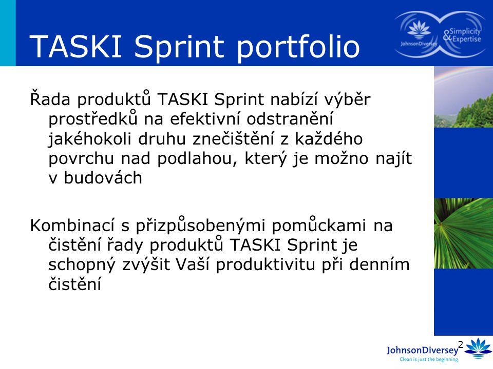 2 Řada produktů TASKI Sprint nabízí výběr prostředků na efektivní odstranění jakéhokoli druhu znečištění z každého povrchu nad podlahou, který je možn