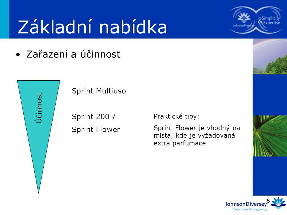 6 Základní nabídka Zařazení a účinnost Účinnost Sprint Multiuso Sprint 200 / Sprint Flower Praktické tipy: Sprint Flower je vhodný na místa, kde je vy