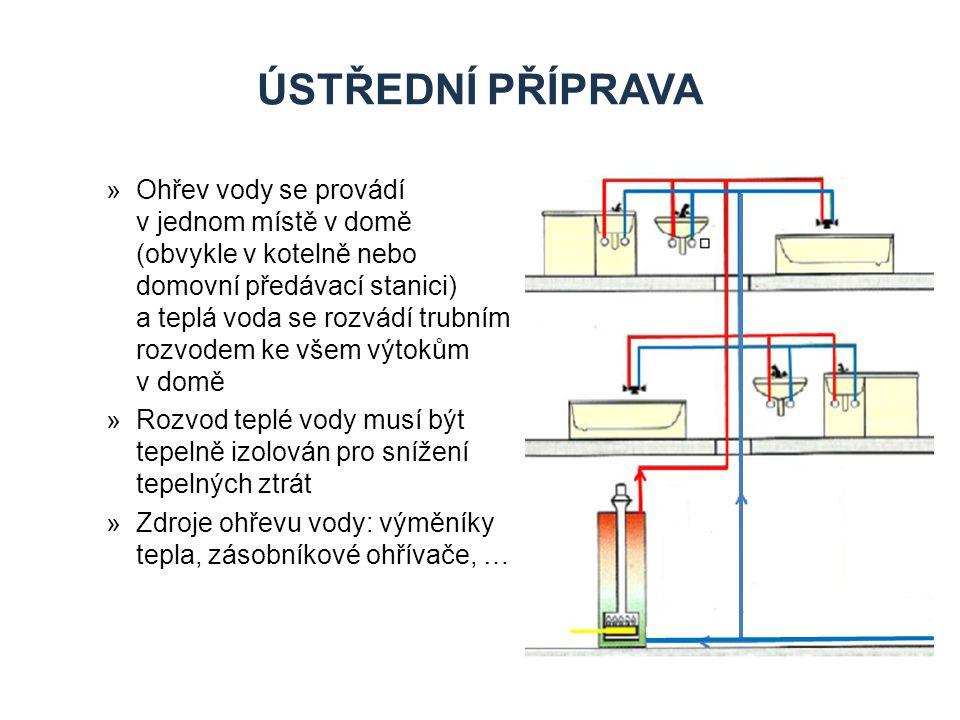 ÚSTŘEDNÍ PŘÍPRAVA »Ohřev vody se provádí v jednom místě v domě (obvykle v kotelně nebo domovní předávací stanici) a teplá voda se rozvádí trubním rozvodem ke všem výtokům v domě »Rozvod teplé vody musí být tepelně izolován pro snížení tepelných ztrát »Zdroje ohřevu vody: výměníky tepla, zásobníkové ohřívače, …