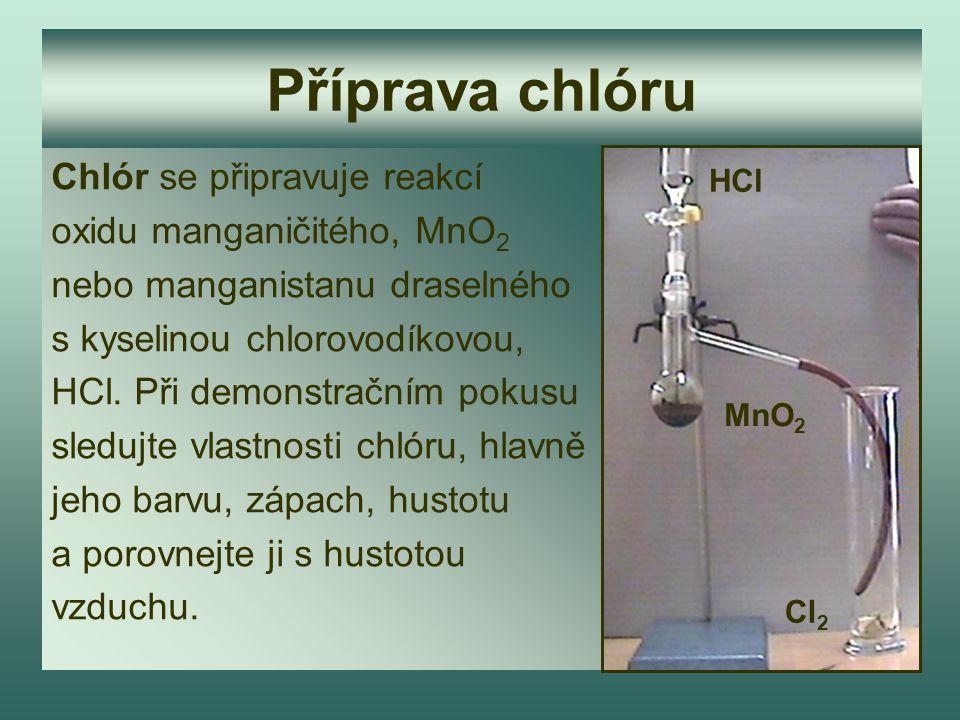 Příprava chlóru Chlór se připravuje reakcí oxidu manganičitého, MnO 2 nebo manganistanu draselného s kyselinou chlorovodíkovou, HCl. Při demonstračním