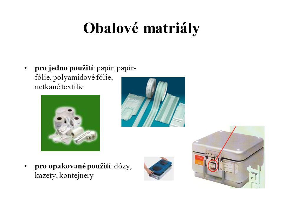 Obalové matriály pro jedno použití: papír, papír- fólie, polyamidové fólie, netkané textilie pro opakované použití: dózy, kazety, kontejnery