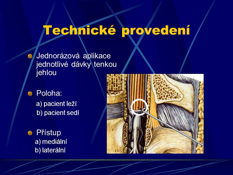 Technické provedení Jednorázová aplikace jednotlivé dávky tenkou jehlou Poloha: a) pacient leží b) pacient sedí Přístup a) mediální b) laterální