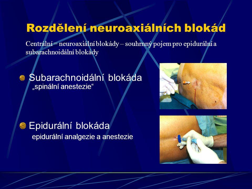 """Rozdělení neuroaxiálních blokád Subarachnoidální blokáda """"spinální anestezie"""" Epidurální blokáda epidurální analgezie a anestezie Centrální = neuroaxi"""
