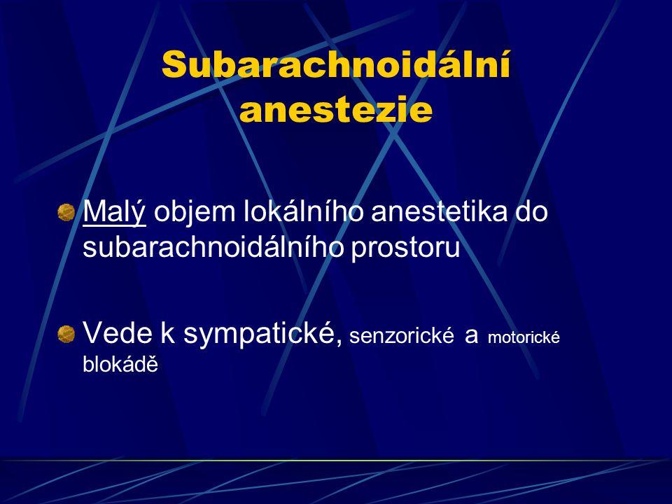Subarachnoidální anestezie Malý objem lokálního anestetika do subarachnoidálního prostoru Vede k sympatické, senzorické a motorické blokádě