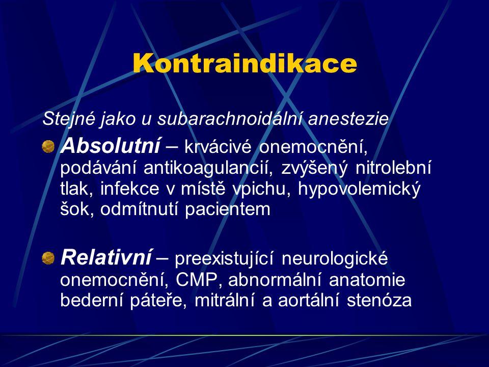 Kontraindikace Stejné jako u subarachnoidální anestezie Absolutní – krvácivé onemocnění, podávání antikoagulancií, zvýšený nitrolební tlak, infekce v