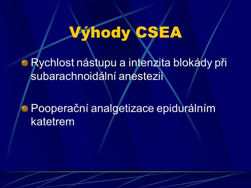 Výhody CSEA Rychlost nástupu a intenzita blokády při subarachnoidální anestezii Pooperační analgetizace epidurálním katetrem