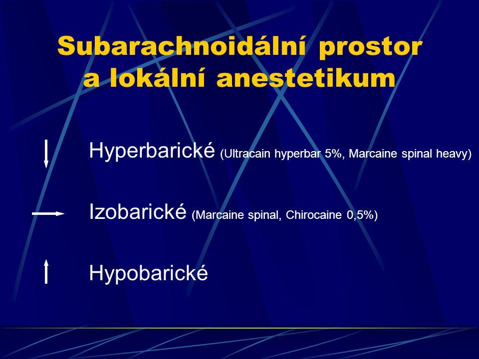 Subarachnoidální prostor a lokální anestetikum Hyperbarické (Ultracain hyperbar 5%, Marcaine spinal heavy) Izobarické (Marcaine spinal, Chirocaine 0,5