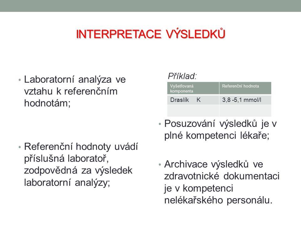 INTERPRETACE VÝSLEDKŮ Laboratorní analýza ve vztahu k referenčním hodnotám; Referenční hodnoty uvádí příslušná laboratoř, zodpovědná za výsledek labor