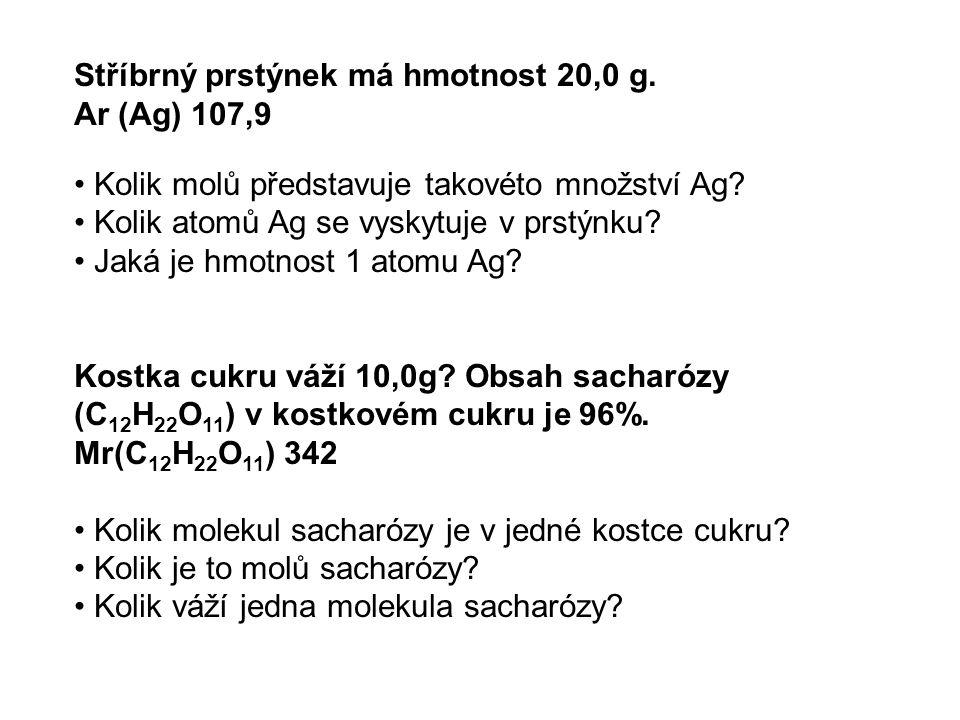Vyjadřování koncentrace roztoků hmotnostní zlomek w = procentuální koncentrace % w = hmotnost rozpuštěné látky/hmotnost roztoku molární koncentrace = molarita c c= n/V [mol/L], [M] c = látkové množství rozpuštěné látky/objem roztoku hmotnostní koncentrace [g/L] počet gramů rozpuštěné látky v 1litru roztoku přepočet w na c