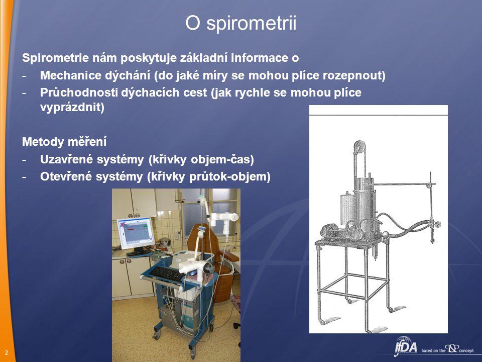 2 O spirometrii Spirometrie nám poskytuje základní informace o -Mechanice dýchání (do jaké míry se mohou plíce rozepnout) -Průchodnosti dýchacích cest (jak rychle se mohou plíce vyprázdnit) Metody měření -Uzavřené systémy (křivky objem-čas) -Otevřené systémy (křivky průtok-objem)