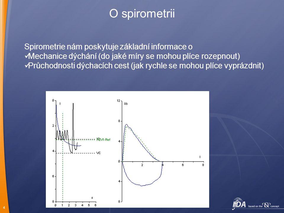 4 O spirometrii Spirometrie nám poskytuje základní informace o Mechanice dýchání (do jaké míry se mohou plíce rozepnout) Průchodnosti dýchacích cest (jak rychle se mohou plíce vyprázdnit)