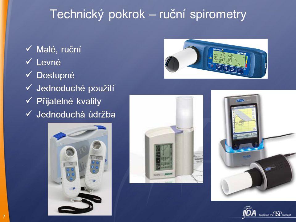 7 Technický pokrok – ruční spirometry Malé, ruční Levné Dostupné Jednoduché použití Přijatelné kvality Jednoduchá údržba