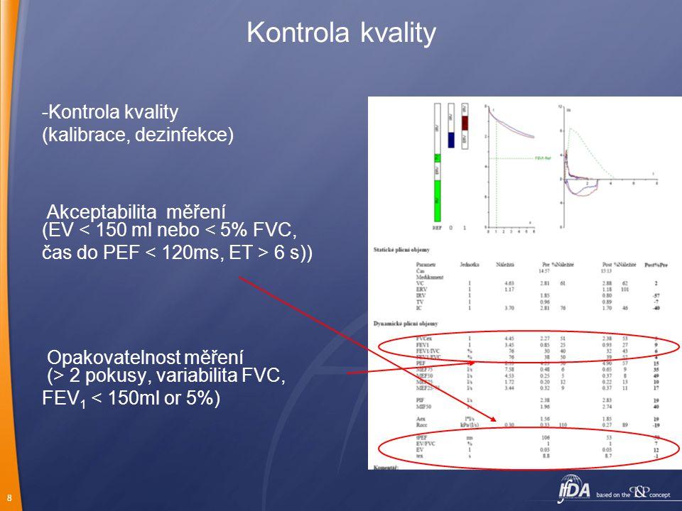 8 Kontrola kvality -Kontrola kvality (kalibrace, dezinfekce) Akceptabilita měření (EV < 150 ml nebo < 5% FVC, čas do PEF 6 s)) Opakovatelnost měření (> 2 pokusy, variabilita FVC, FEV 1 < 150ml or 5%)