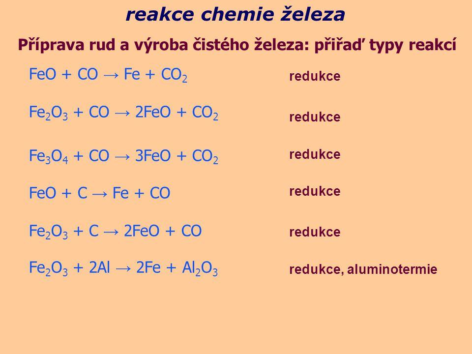 reakce chemie železa Příprava rud a výroba čistého železa: přiřaď typy reakcí redukce FeO + CO → Fe + CO 2 Fe 2 O 3 + CO → 2FeO + CO 2 Fe 3 O 4 + CO → 3FeO + CO 2 FeO + C → Fe + CO Fe 2 O 3 + C → 2FeO + CO redukce Fe 2 O 3 + 2Al → 2Fe + Al 2 O 3 redukce, aluminotermie