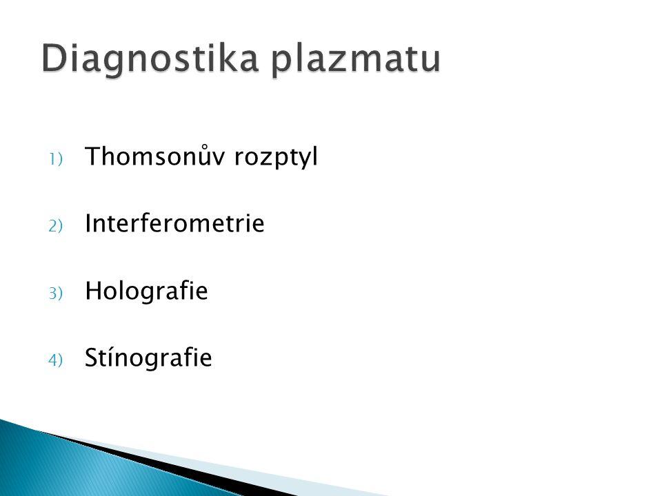 1) Thomsonův rozptyl 2) Interferometrie 3) Holografie 4) Stínografie