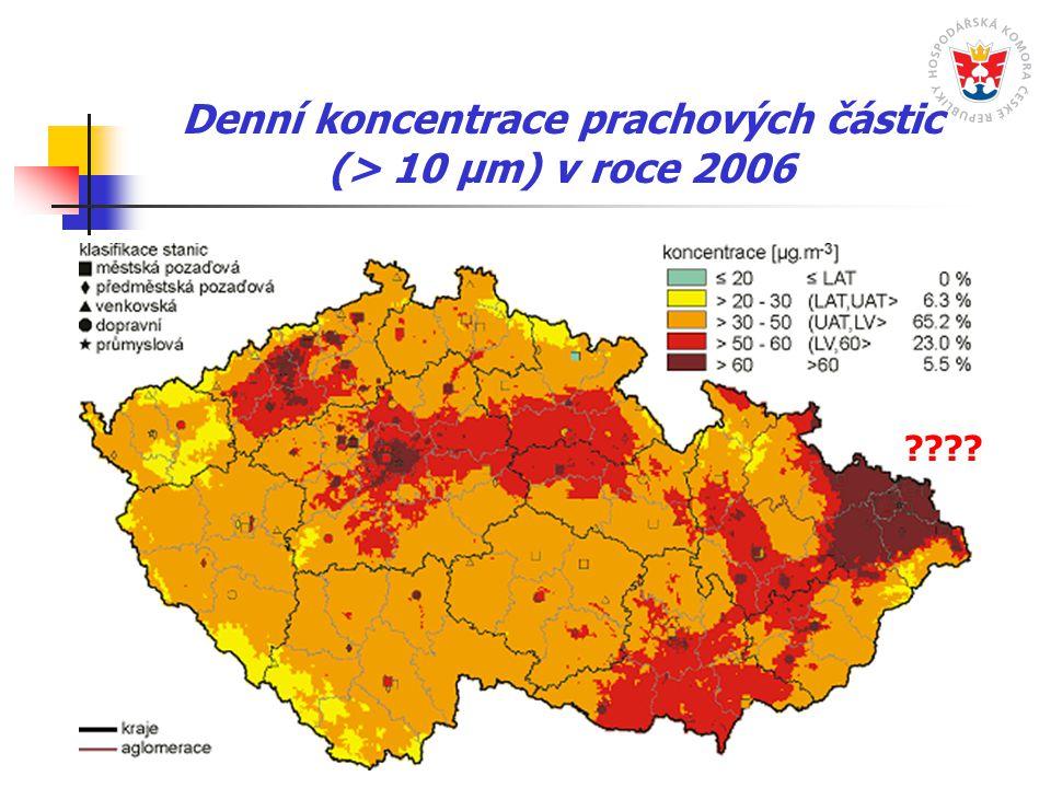 Denní koncentrace prachových částic (> 10 µm) v roce 2006 ????