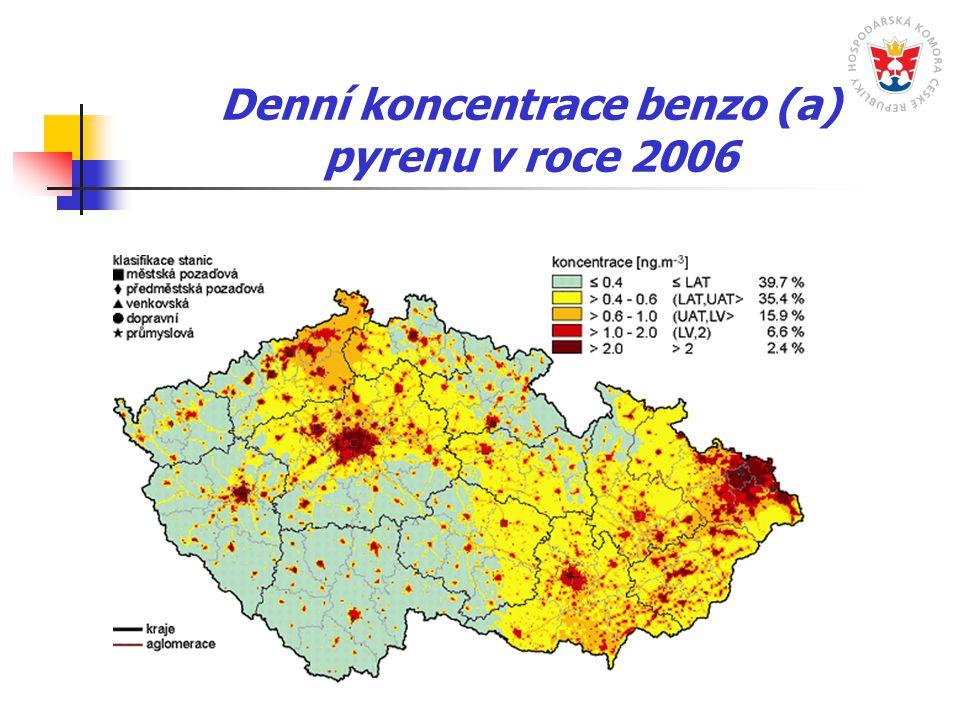 Denní koncentrace benzo (a) pyrenu v roce 2006