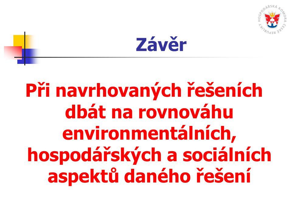 Závěr Při navrhovaných řešeních dbát na rovnováhu environmentálních, hospodářských a sociálních aspektů daného řešení