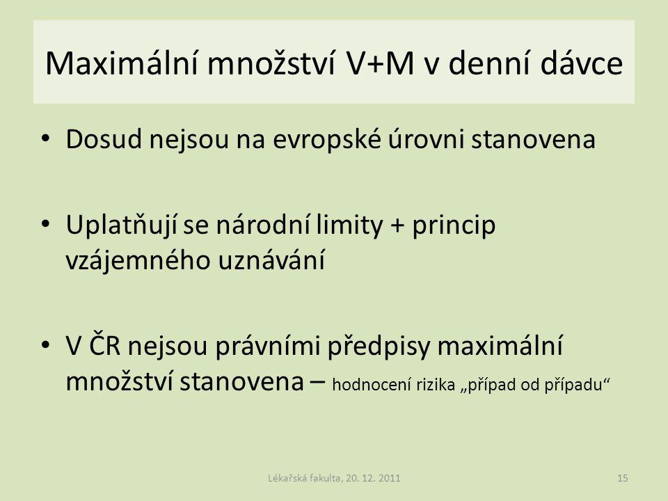 Maximální množství V+M v denní dávce Dosud nejsou na evropské úrovni stanovena Uplatňují se národní limity + princip vzájemného uznávání V ČR nejsou p