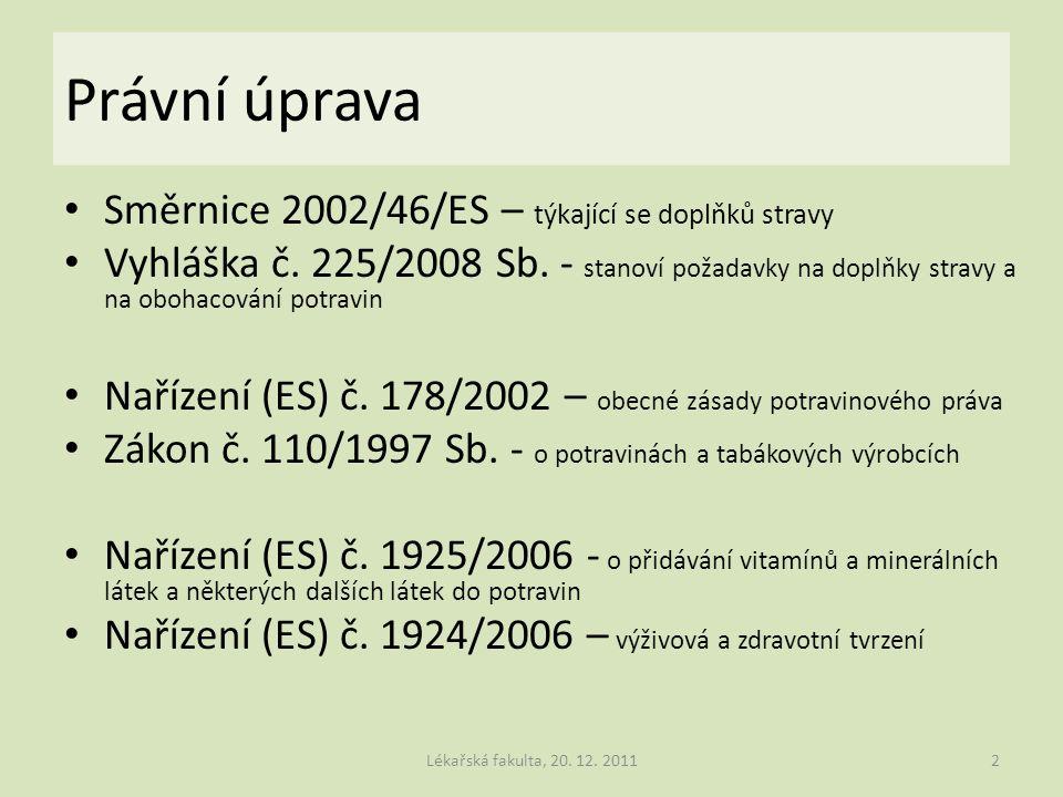 Právní úprava Směrnice 2002/46/ES – týkající se doplňků stravy Vyhláška č. 225/2008 Sb. - stanoví požadavky na doplňky stravy a na obohacování potravi