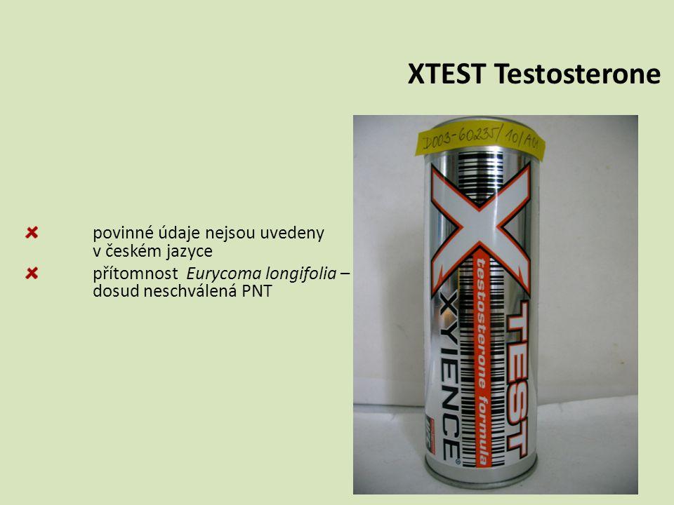 přítomnost Eurycoma longifolia – dosud neschválená PNT XTEST Testosterone