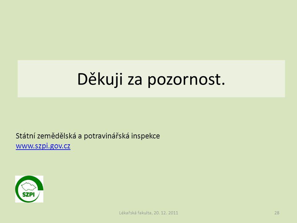 Děkuji za pozornost. Lékařská fakulta, 20. 12. 201128 Státní zemědělská a potravinářská inspekce www.szpi.gov.cz