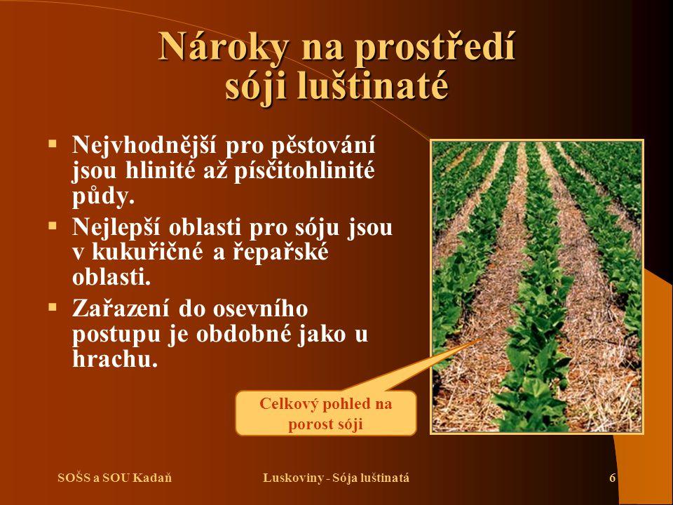 SOŠS a SOU KadaňLuskoviny - Sója luštinatá6 Nároky na prostředí sóji luštinaté  Nejvhodnější pro pěstování jsou hlinité až písčitohlinité půdy.  Nej